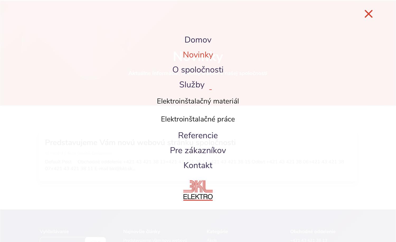 BKL ELEKTRO - nová webová stránka - hlavné menu